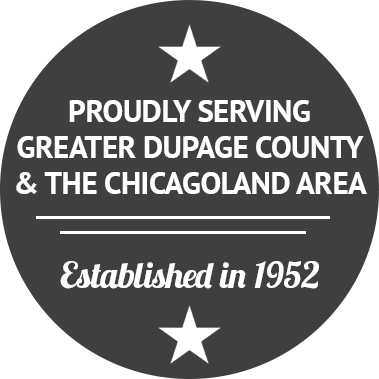 "Round Site badge that says ""Proudly Serving Greater Dupage County and The Chicagoland Area. Established in 1952"""
